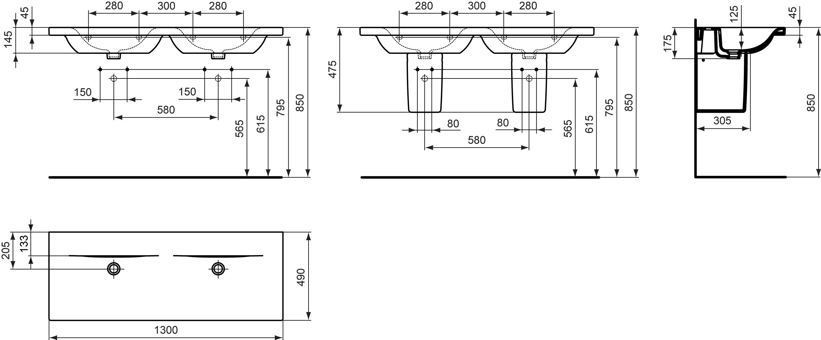 dubbele wastafel 1300 mm zonder kraangaten ideal standard nederland