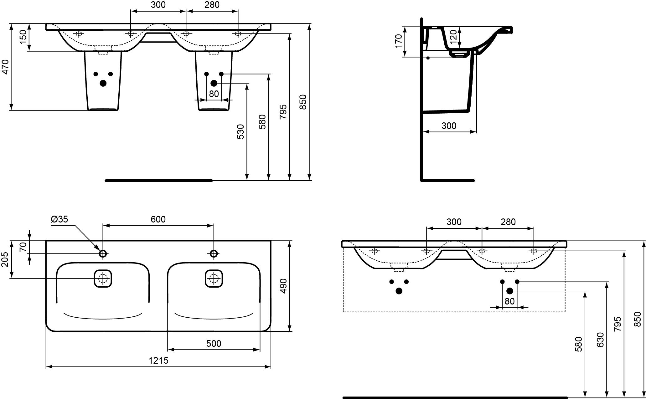 dubbele wastafel 1215 mm met 2 kraangaten zonder overloop