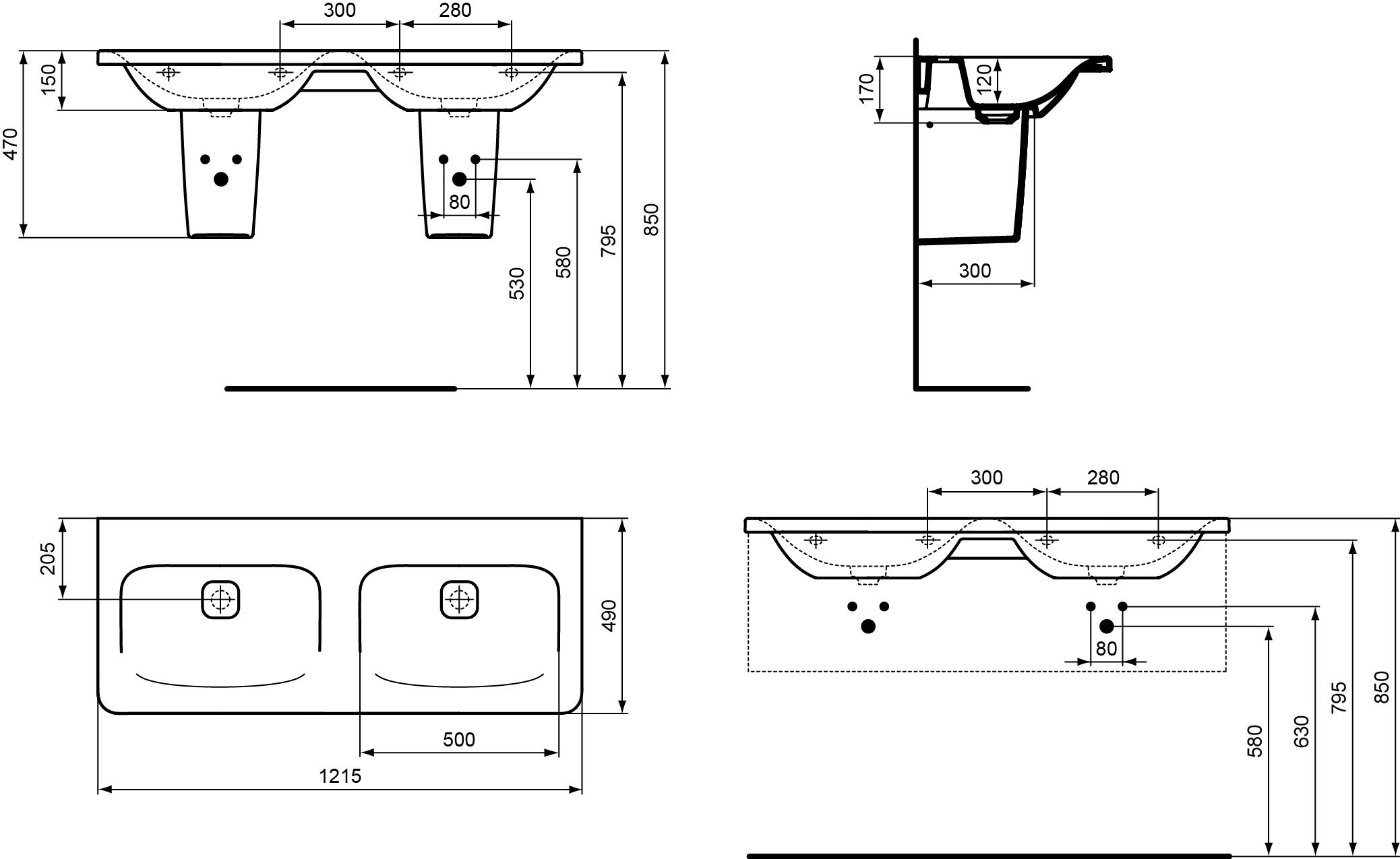 dubbele wastafel 1215 mm zonder kraangat zonder overloop